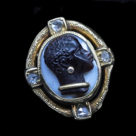 Antique Victorian Ring Blackamoor Cameo Agate 18k Gold Diamonds French (6741)