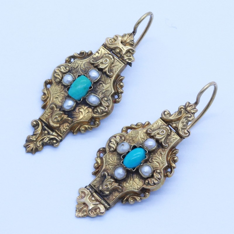 Antique Earrings Victorian Gold Turquoise Pearls Engraved