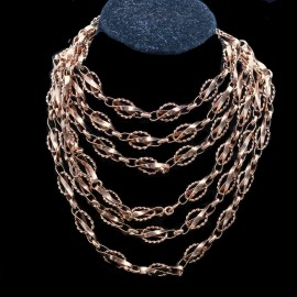 Antique Long Chain Necklace Sautoir 14k Red Gold Versatile (6766)