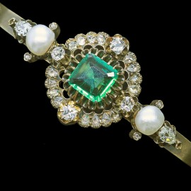 Victorian Bangle Bracelet Emerald Diamonds Pearls 14k Gold Antique Jewelry (6612)