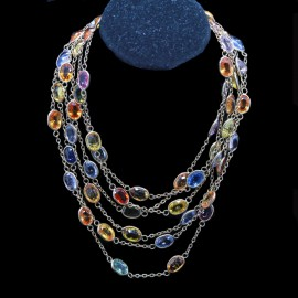 Vintage Long Chain Necklace 68ct Sapphires 14k Gold 58 1/2inches Long (4411)