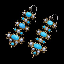 Antique Victorian Earrings 18k Gold Turquoise Pearls Cascading Dangles (6775)