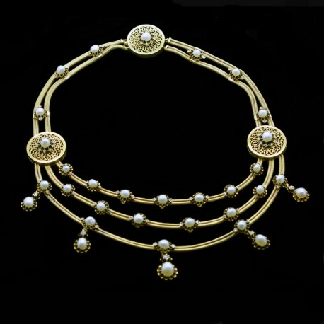 Antique Victorian French Necklace 18k Gold Natural Pearls Diamonds (5841)