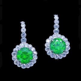 Vintage Earrings Demantoid Garnet Diamonds Platinum Gold 2.62ct Demantoid (6774)