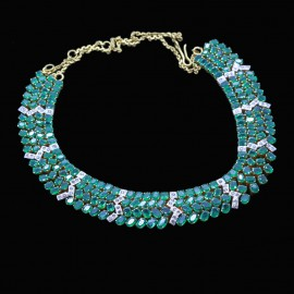 Vintage Necklace Bib Collar 22k Gold 26ct Emeralds, Diamonds Retro (6805)
