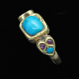 Antique Victorian Ring 22k Gold Turquoise Rubies Indian Mughal Unisex Man (6807)