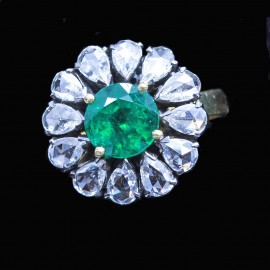 Vintage Ring 22k Gold Emerald Diamonds Mid 1900's Golconda India (6818)