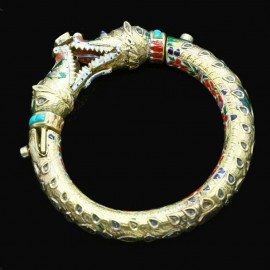 Antique Mughal Bangle Bracelet Gold Enamel Gems Crocodile w Appraisal (4929
