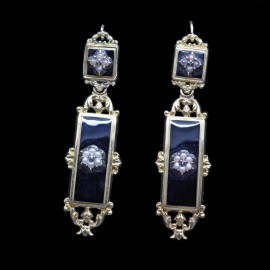 Antique Georgian Day Night Earrings 18k Gold Pearls Diamond Enamel Mourning(6089)