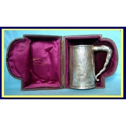 Antique Chinese Export Silver Christening Mug Tankard Shagreen Case (4749)