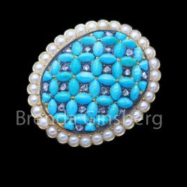 Antique Victorian Brooch Locket 18k Gold Turquoise Diamonds Pearls French (6896)