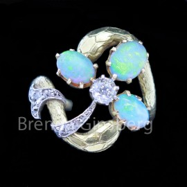 Art Nouveau Ring 18k Gold Platinum Opals Diamonds Snakes Clover French (6898)