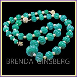 Emerald and Pearl Necklace and Bracelet Set (ID:5677)