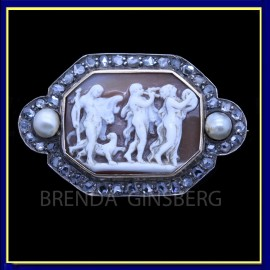 Antique Georgian Cameo Brooch Diamonds Gold Pearls Bacchic Dance Music (5648)