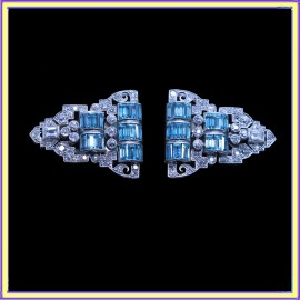 Art Deco Pair Dress Clips Brooch Convertible Plat 18k Gold Diamonds Zircons(6939)
