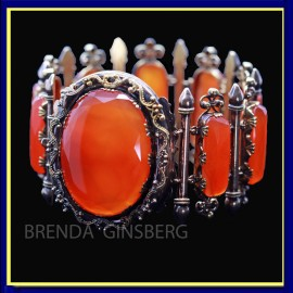 Antique Georgian Bracelet Bangle 18k Gold Carnelian French Charles X (6950)