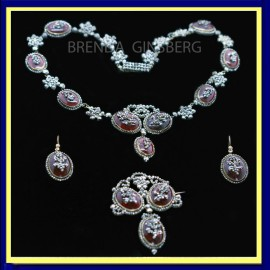 Antique Georgian Parure Cut Steel Paste Gold Necklace Earrings Brooch MOP (6953)