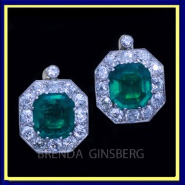 Antique Earrings Earclips Gold Platinum Emeralds Diamonds w Appraisal (6947)