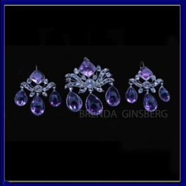 Georgian Earrings Brooch Pendant Set Amethyst Rock Crystal Silver Gold (6954)