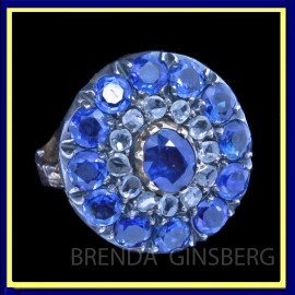 Antique Victorian Ring Natural Sapphires Diamonds Fab 18k Gold Mount (6684)