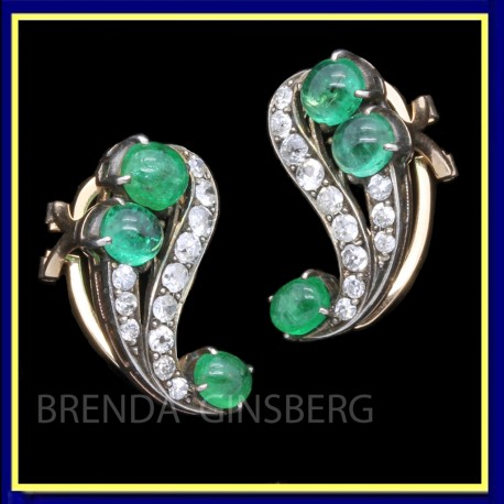 Antique Art Deco Earrings Ear Clips Gold Diamonds Emeralds w Appraisal (5496)