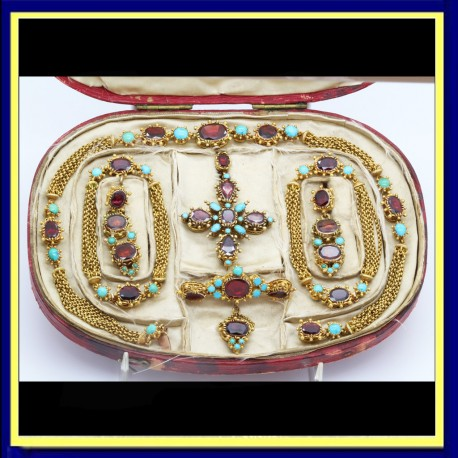 Georgian Victorian Set Earrings Necklace Bracelets 2 Pendants Brooch (6112)
