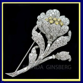 Antique Art Deco Brooch Yellow & White Diamonds Platinum w Certificate (ID:5207)