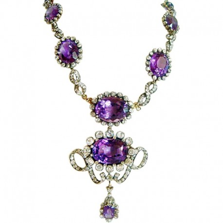Victorian Necklace 90ct Amethyst 17.25ct Diamond 14k Gold SilverAppraisal (4899)