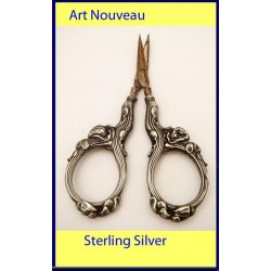 Antique Art Nouveau Pair Sewing / Embroidery / Nail Scissors St Silver (ID:5076)