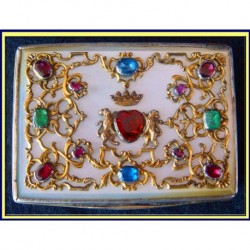 Antique Snuff Box Silver Gilt Set w Emerald Ruby Sapphire & other Gems (3711)