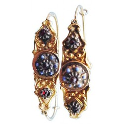 Antique Earrings Georgian Poissarde French Gold and Enamel w Paste (ID:3372)