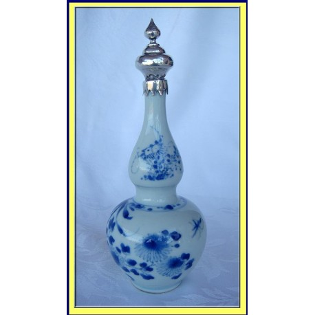 ANTIQUE CHINESE DOUBLE GOURD BOTTLE VASE W DUTCH SILVER (4048)