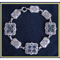 Antique Bracelet Bangle Rock Crystal Diamond Gold Art Deco (4119)