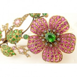 Antique Brooch Gold Demantoid Garnet Ruby Sapphire Diamond Pearl C1900 (ID:5293)