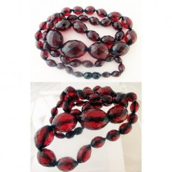 Antique Victorian Amber Necklace Genuine Faceted Amber Beads Cherry (ID:5394)
