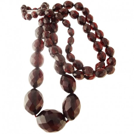 Antique Victorian Amber Necklace Genuine Faceted Amber Beads Dark Cherry (ID:5395)