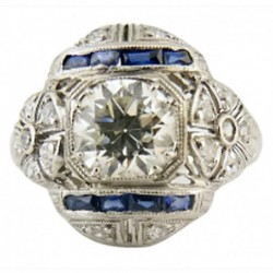Art Deco Engagement Wedding Ring Diamond Platinum Sapphires w Appraisal (5499)