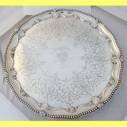 Antique Victorian Sterling Silver Footed Tray J&J Angell London Armorial (ID:5285)