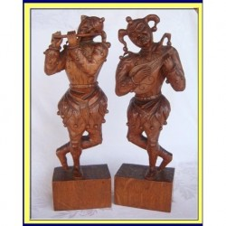 ANTIQUE PR ITALIAN OAK CARVED FIGURES JESTERS  (ID:3953)