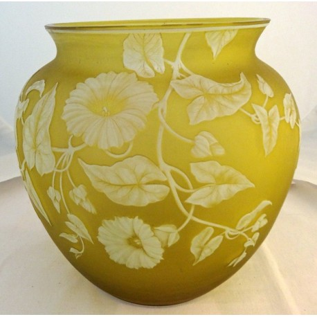 Antique Signed Thomas Webb Carved Cameo Glass Bowl Citron Yellow V Large (ID:5642)