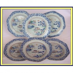 ANTIQUE CHINESE CERAMIC QIANLONG 18C PLATES - BLUE WHITE(ID:4182)