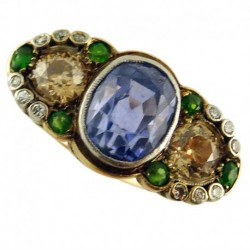 Antique Victorian Ring 6.10ct Sapphire 1.45ct Diamonds Demantoid Garnets (ID:5652)