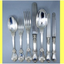 Antique Aucoc Flatware 108 Pc Sterling Silver Knives Forks Spoons Chest (ID:5869)