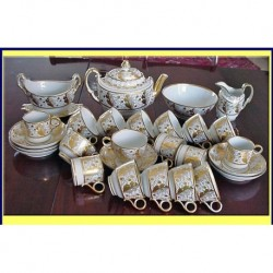 FLIGHT BARR WORCESTER TEA COFFEE SET GILT ACO (ID:3289)