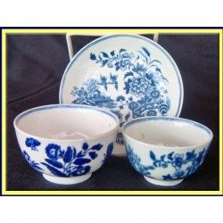 ANTIQUE WORCESTER DR WALL LOT TEA BOWL SAUCER (ID:3694)