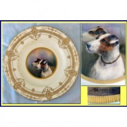WORCESTER PLATE DOG PAINTING GILDING SGND STANLEY (ID:3781)