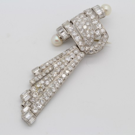 Art Deco Brooch Platinum 5.50ct Diamonds and Cultured Pearls Hinged Comet (6065)