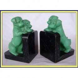 VINTAGE PAIR PUPPY DOG BOOKENDS (ID:4085)