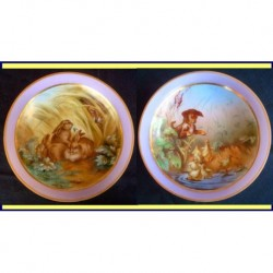 ANTIQUE PR OPALINE GLASS BOWLS PAINTED DOG FO (ID:3666)