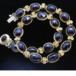 Antique Georgian Necklace 18k Gold Garnets and Filigree (5131)